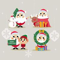Christmas Santa with Reindeer Snowman and Elf Character vector