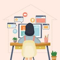Woman Attends School From Home vector