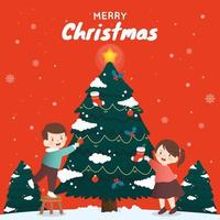 Two Children Decorating a Christmas Tree vector