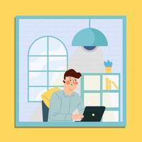 un hombre trabaja desde casa durante la cuarentena vector