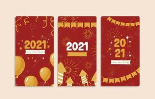 Golden Red 2021 New Year Banner vector