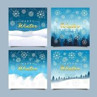 Happy Winter Greeting Cards with Snowflakes