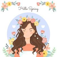 Young Woman Experiencing Serenity in Nature vector