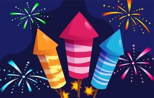 Fireworks Blasting Moment vector