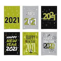 Commemorate of Happy New Year 2021 Cards Sets vector