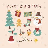 Cute Christmas Items Set vector