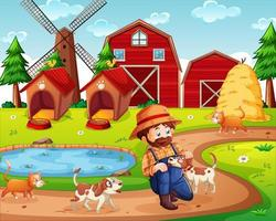 Farm with red barn and windmill scene vector