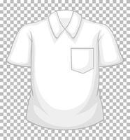 Camisa de manga corta blanca en blanco con bolsillo aislado sobre fondo transparente vector