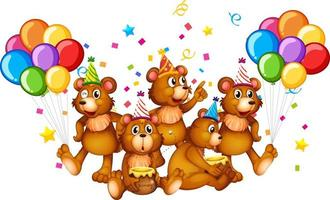 Grupo de osos en personaje de dibujos animados de tema de fiesta sobre fondo blanco