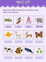 clasifique al animal en el grupo según cómo mueven la hoja de trabajo para el jardín de infantes vector
