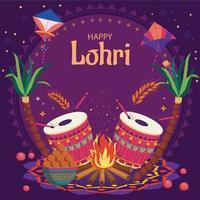 Happy Lohri with Purple and Orange Color