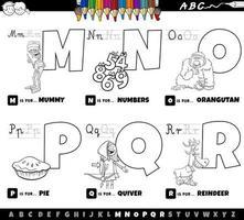 Letras del alfabeto de la m a la r libro para colorear vector