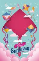 Happy Makar Sankranti with Kites Flying