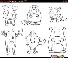 Personajes de animales de dibujos animados para colorear página del libro vector