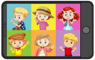 personaje de dibujos animados de diferentes niños en la pantalla del teléfono inteligente vector