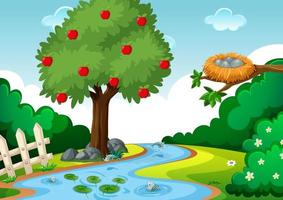 Stream in the forest scene with apple tree vector