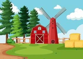 Red barn and windmill in farm scene vector
