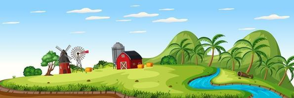 Farm landscape with red barn and windmill in summer season vector