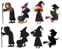 Asistente o brujas en color y silueta personaje de dibujos animados aislado sobre fondo blanco.