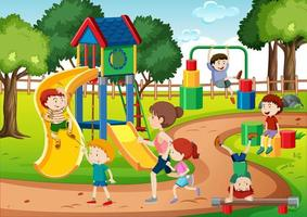 niños jugando en la escena del patio de recreo vector