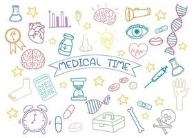 conjunto de doodle de elemento médico aislado sobre fondo blanco vector
