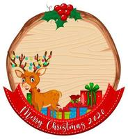 Blank wooden board with Merry Christmas 2020 font logo and reindeer