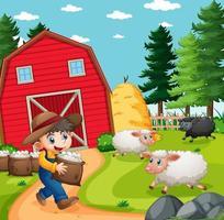 Farmer boy with animal farm sheep in farm scene