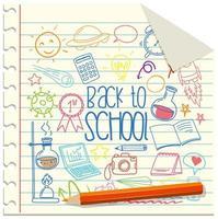 Set of school element doodle on paper
