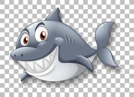 Shark smiling cartoon character on transparent background vector