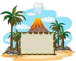 Blank banner on prehistoric scene background vector