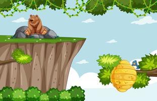 Plantilla de juego con oso grizzly y colmena de abejas en el fondo del bosque vector