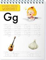 Alphabet tracing worksheet with letter and vocabulary vector