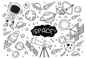 Space element in doodle or sketch style isolated on white background