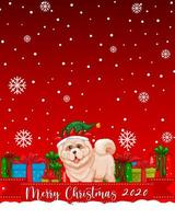 Merry Christmas 2020 font logo with cute dog cartoon character