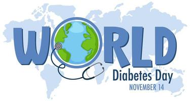 World Diabetes Day logo or banner with the globe on the map vector
