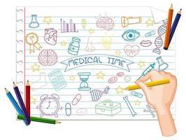 dibujo a mano alzada, elemento médico doodle en papel vector