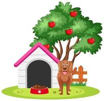 A dog standing beside dog house isolated on white background vector
