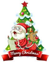 feliz navidad 2020 banner de fuente con santa claus y lindo reno sobre fondo blanco