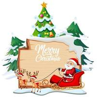 Merry Christmas font logo on wooden board with Christmas cartoon character on white background