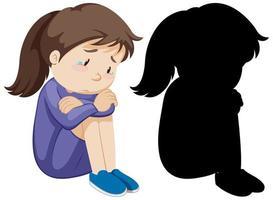 niña llorando decepcionada con su silueta vector