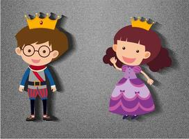 Little prince and princess cartoon character on grey background
