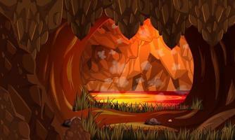 Infernal dark cave with lava scene