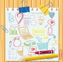 conjunto de elementos de redes sociales doodle en papel vector