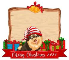 Blank wooden board with Merry Christmas 2020 font logo and cute dog