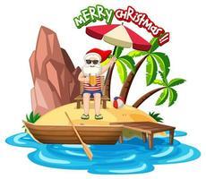 santa claus en la isla de la playa para el verano navidad