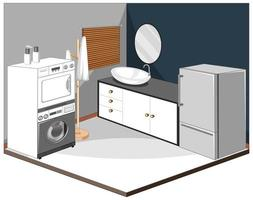 Laundry room interior with furniture