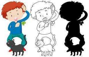 Boy playing with cat in colour and silhouette and outline vector