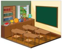Empty classroom interior with classroom elements