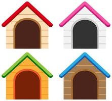 Set of different color of dog houses vector