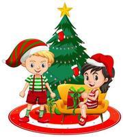 Los niños usan traje de Navidad personaje de dibujos animados con árbol de Navidad sobre fondo blanco.